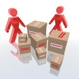 Urgent packages to deliver. A 3d rendering of employees and urgent packages Stock Photo