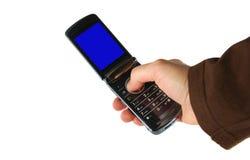 Urgent photo. Hand holding a camera phone and taking urgent photo Stock Image