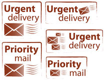 Urgent & Priority stamps Royalty Free Stock Images