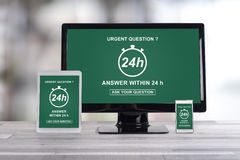 Urgent question concept on different devices Royalty Free Stock Photography