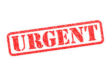 URGENT. `URGENT` red rubber stamp over a white background Stock Image