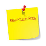 Urgent Reminder Sticky Note With Pin. A yellow sticky note with a red pin saying urgent reminder isolated on a white background Royalty Free Stock Images