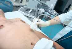 Urgent ultrasonic study in emergency room Stock Images