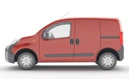 Urgent van to transport goods. Red delivery van isolated Stock Image