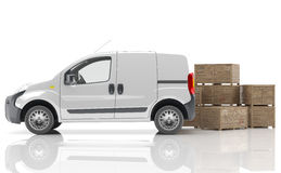 Urgent van to transport goods. White delivery van isolated Stock Photography
