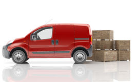 Urgent van to transport goods. White delivery van isolated Stock Photos
