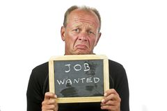 Urgently job wanted. Man holding job wanted sign on a white background Stock Image