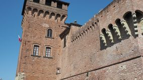 Urgnano, Bergamo, Italy. The medieval castle in the center of the village. A famous landmark stock video footage