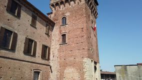 Urgnano, Bergamo, Italy. The medieval castle in the center of the village. Spring time stock video