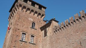 Urgnano, Bergamo, Italy. The medieval castle in the center of the village stock video