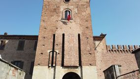 Urgnano, Bergamo, Italy. The medieval castle in the center of the village. Spring time stock video footage