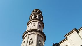 Urgnano, Bergamo, Italy. View of the bell tower of the main church in the center of the village stock footage