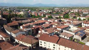 Urgnano, Bergamo, Italy. View of the village and the medieval castle from the top of the bell tower. Great landscape stock video