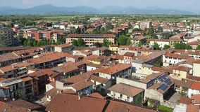 Urgnano, Bergamo, Italy. View of the village and the medieval castle from the top of the bell tower stock footage