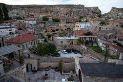 Urgup gata Sikt av staden i Urgup, Cappadocia arkivbild