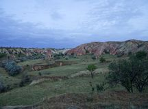 Urgup-Landschaftsfarbfelsen stockfotos