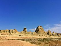 Urho Ghost City, Xinjiang China. Yardang landforms in Xinjiang,China. Located 100 km northeast of Karamay City, against the Halahlat Mountain, northwest of the Stock Photos