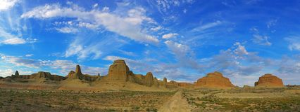 Urho Ghost City, Xinjiang China. Yardang landforms in Xinjiang,China. Located 100 km northeast of Karamay City, against the Halahlat Mountain, northwest of the Royalty Free Stock Image