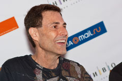 Uri Geller answers questions of journalists. Uri Geller at press conference on April, 17th, 2009 in Moscow (Russia Stock Photo