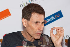 Uri Geller answers questions of journalists. Uri Geller at press conference on April, 17th, 2009 in Moscow (Russia Stock Image