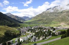 Mountain landscape at Andermatt in the heart of the swiss alps. stock image