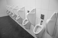 Urinal. Many white urinals in public toilets Royalty Free Stock Photography