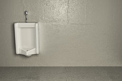 Urinal on dirty wall. Abstract background. 3d Royalty Free Stock Photo