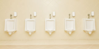 Urinal man five clean toilets in public toilets. Royalty Free Stock Photo