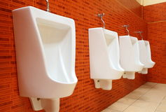 Urinals brancos da porcelana Fotografia de Stock