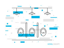 Urinals line art vector illustration. Public toilet line art concept. Male restroom outline graphic design. Lavatory for gentlemen linear interior. Water Stock Photography