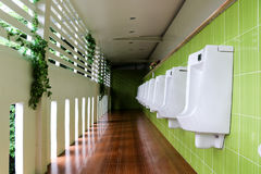 Urinals in public toilet Stock Images