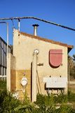 Toilet campsite house. Urinals and sinks and toilets at a campsite in the south of France with cloudless sky Royalty Free Stock Image
