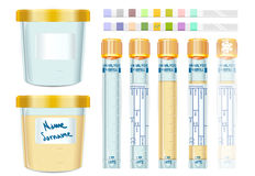Urinalysis Yellow Cap Tubes Set, empty, filled, frozen and dipis Royalty Free Stock Photos