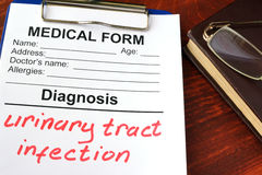 Urinary tract infection. Medical form with diagnosis Urinary tract infection Royalty Free Stock Photos