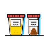 Urine and fecal analysis. Flat style. Containers for analysis. Vector illustration of urine and fecal analysis. Flat style. Containers for analysis  on white Royalty Free Stock Photo
