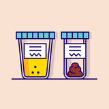 Urine and fecal analysis. Flat style. Vector illustration of urine and fecal analysis. Flat style. Containers for analysis  on pink background Stock Photos