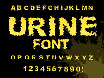 Urine font. Yellow liquid ABC. piss typography. wee-wee alphabet. Fluid letters Stock Photos