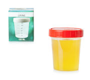 Urine sample in container Royalty Free Stock Photo