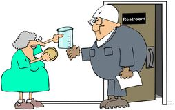 Urine Test. This illustration depicts a nurse handing a urine specimen jar to a worker for a pee test Stock Image