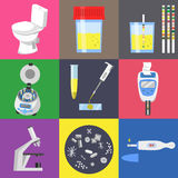 Urine test icons. Urine test analysis and medical laboratory equipment. Color vector icons set Stock Image