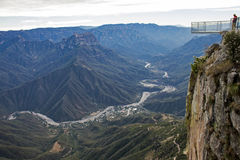 Urique Canyon with viewing platform. In the Copper Canyon region, Chihuahua, Mexico Stock Image
