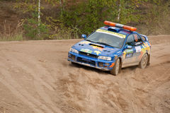 Uriy Volkov drives a Subaru Impreza Stock Photography