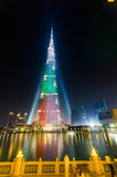 Urj Khalifa Tower floodlit in the white, green and red colours Royalty Free Stock Image