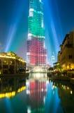 Urj Khalifa Tower floodlit in the white, green and red colours. DEC 03 -DUBAI, UAE:  Burj Khalifa Tower floodlit in the white, green and red colours of the flag Royalty Free Stock Photography