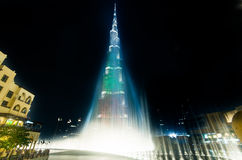 Urj Khalifa Tower floodlit in the white, green and red colours Stock Photos