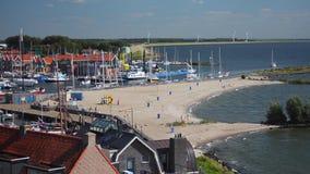Urk海滩和海港入口timelapse 股票视频