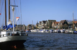 Urk Harbor with boats. Boats in Urk harbor, the Netherlands stock photo
