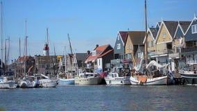Urk harbor timelapse. Time lapse of Urk harbor boats stock video