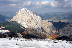 Urkiola mountain range with snow in winter Royalty Free Stock Photos