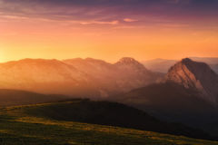 Urkiola mountain range at sunset Stock Image